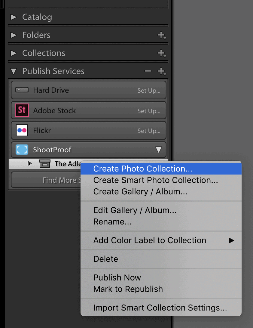 A screenshot of the ShootProof Lightroom Plugin. It's easy to upload your Lightroom Collections into a ShootProof gallery directly from Lightroom!