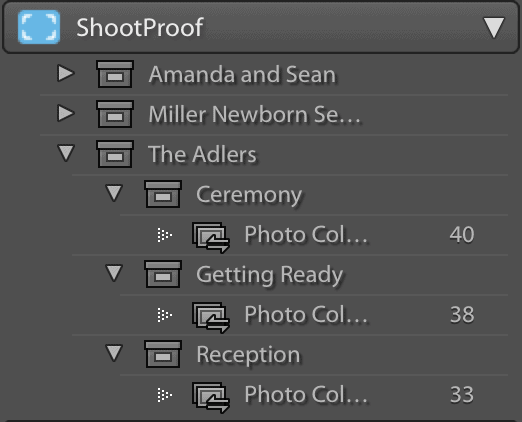 Screenshot of the ShootProof Lightroom Plugin's gallery and album structure