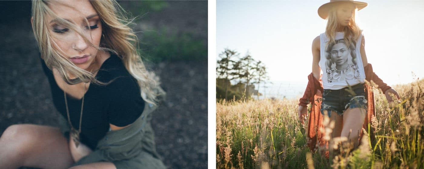 A young blonde woman strolls through a field wearing boho clothing during a digital photography workflow session with Spanki Mills