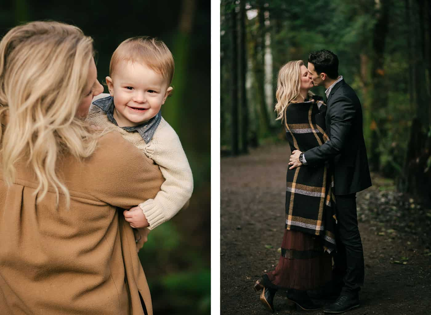 Top family portrait poses: mom cuddles with her toddler son then kisses her husband in a woodsy outdoor session.