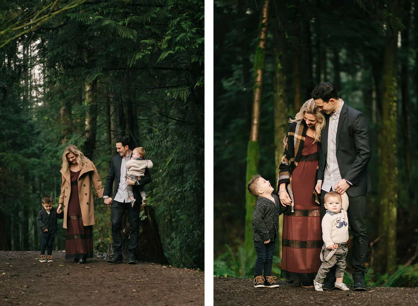 Family portrait poses: a sweet family of four poses in the woods for beautiful portraits.