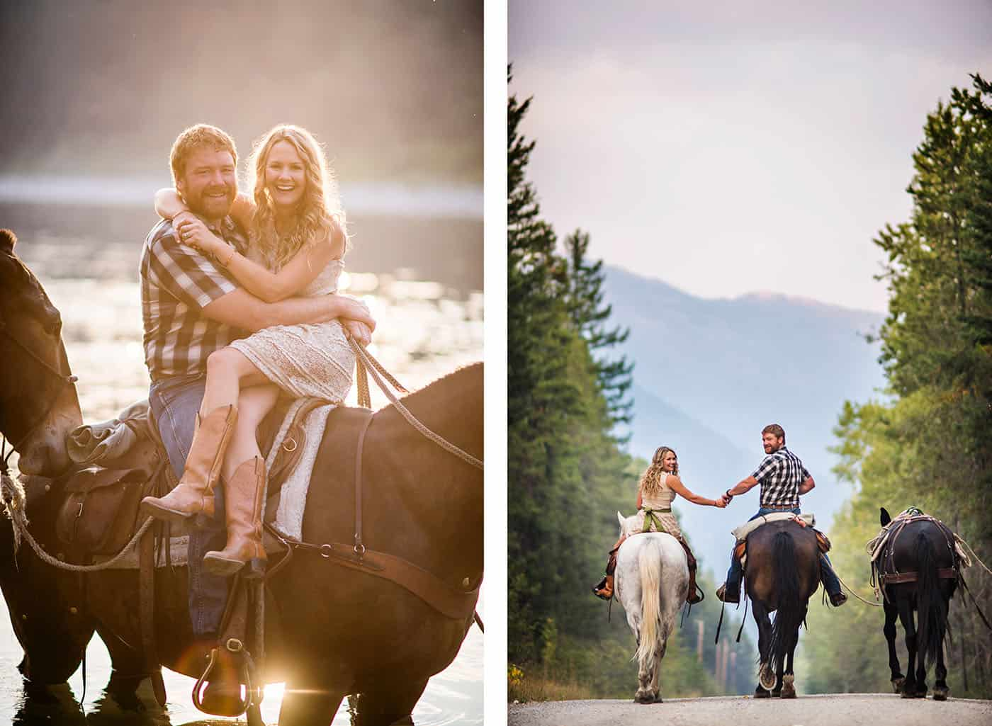 Epic Montana Photo Locations - beautiful couple with horses by a river in the mountains