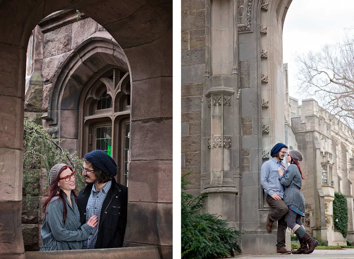 Urban Photo Locations - young hipster couple cuddling in a stone archway