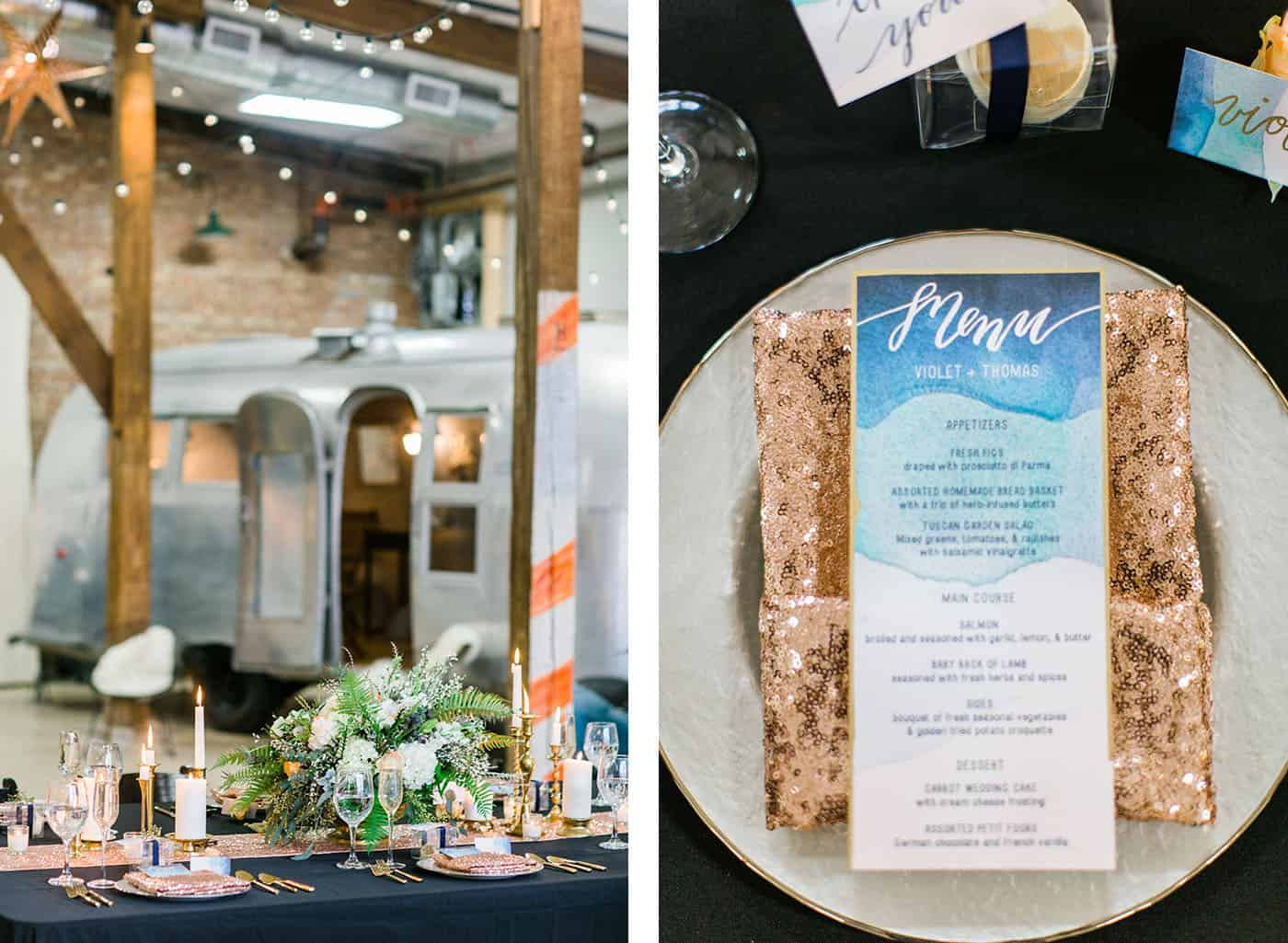 indoor airstream wedding reception blue and gold rachael osborn client questions