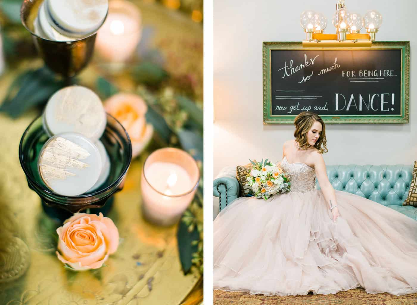 bride on blue leather sofa with gold-brushed macarons rachael osborn client questions
