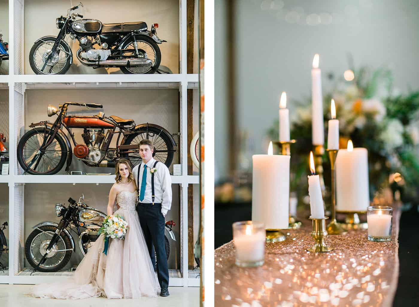 bride and groom with vintage motorcycles and candles rachael osborn client questions