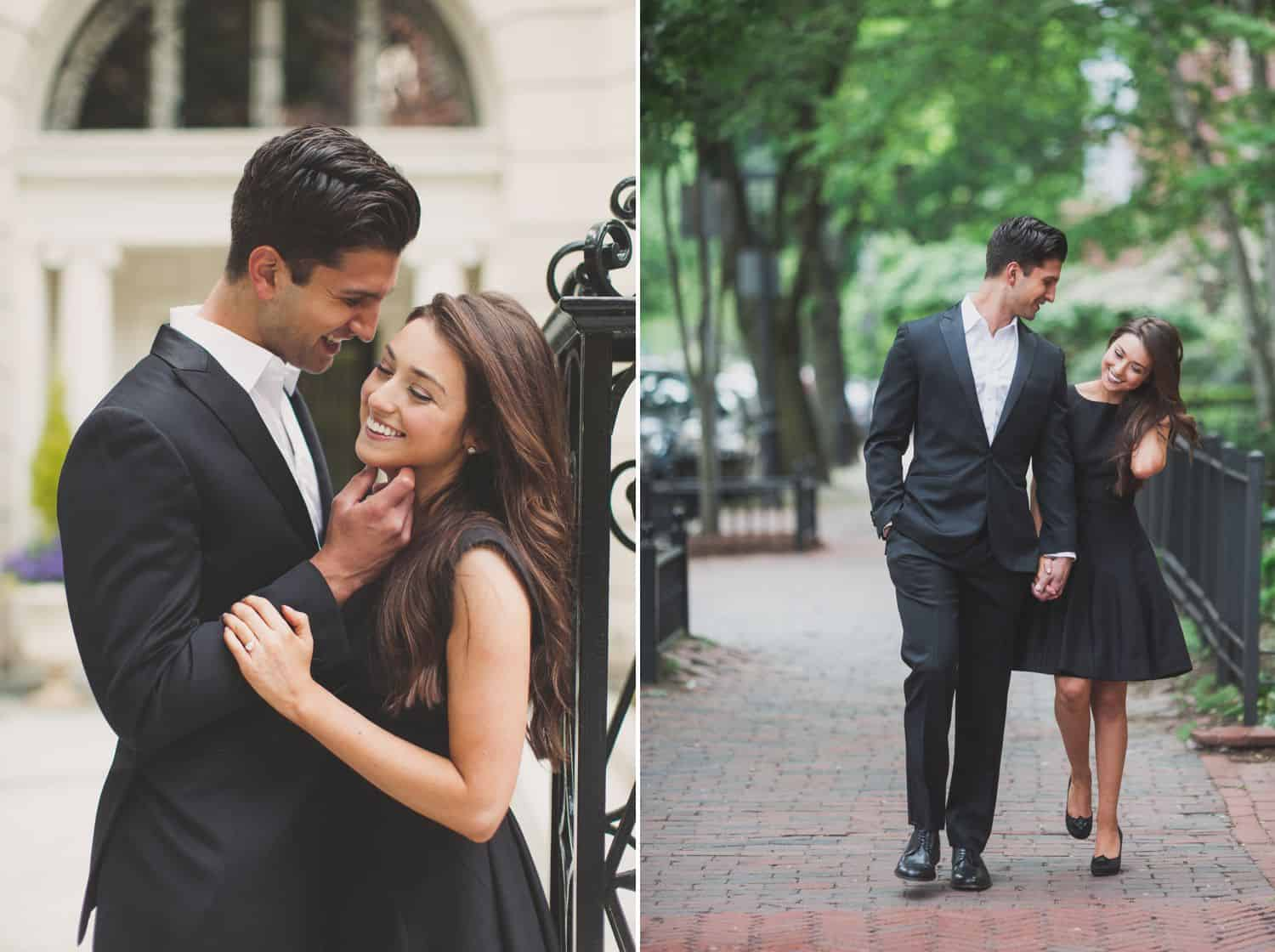 Engaged couple embracing and walking through Central Park. By Harris & Co.