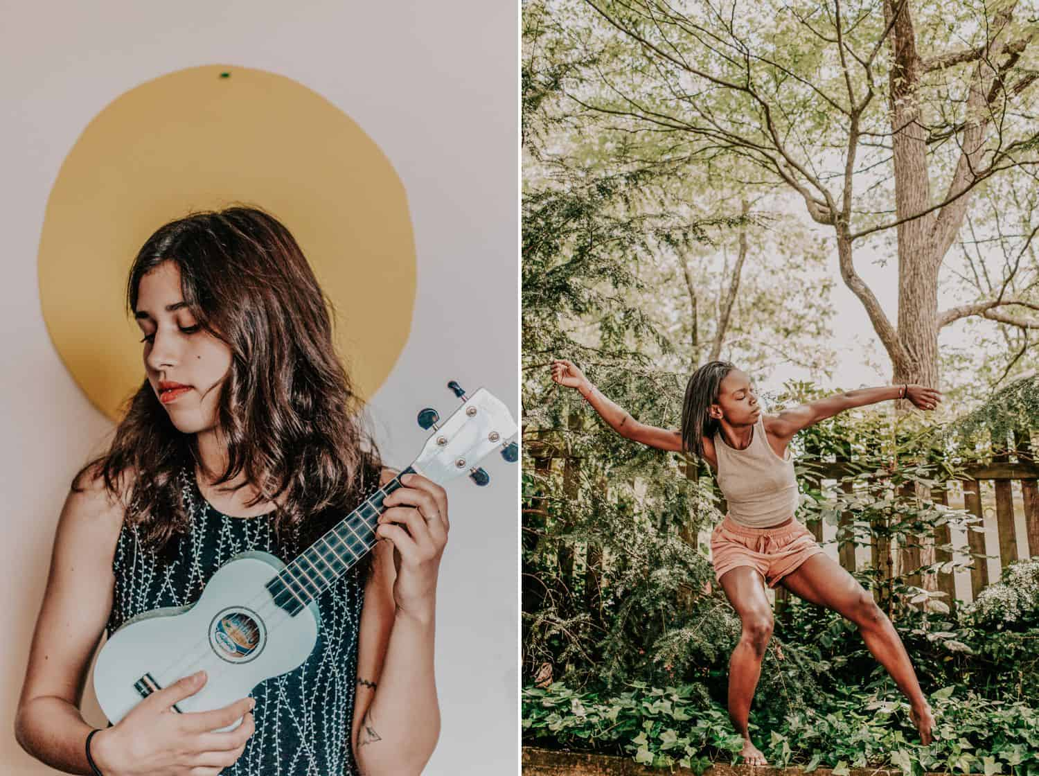 """Drop the Obsession with """"Pretty"""" Portrait Photography: Diptych of two women. On the left, a woman stands against a wall painted with a sunshine, holding a blue ukulele. Onn the right, a woman dances freely in her own back yard. Photographed by Crystal Anne"""