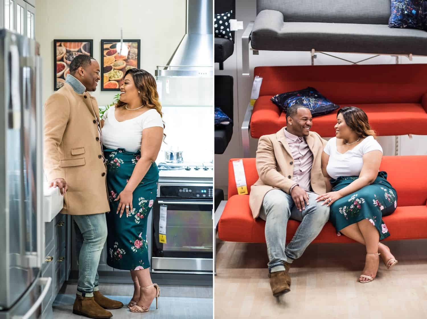 Great Engagement Sessions: Diptych of couple standing in an IKEA kitchen and snuggling on an IKEA sofa.