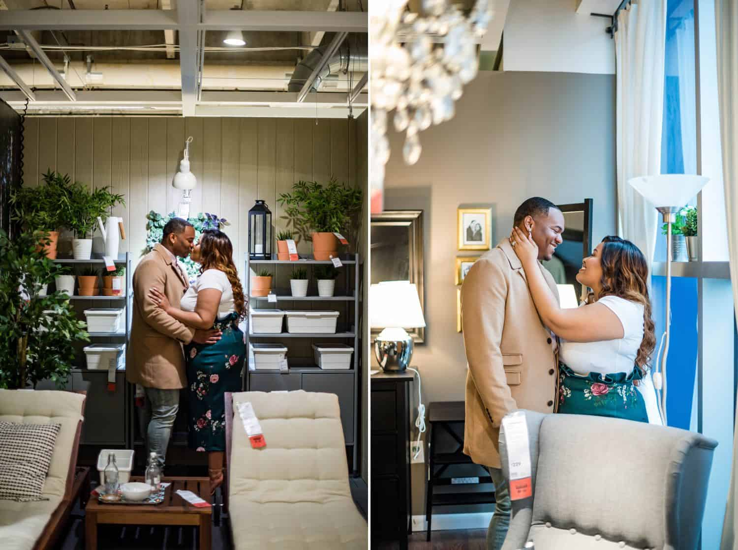 Great Engagement Photos: Diptych of couple kissing in an IKEA living room and embracing by an IKEA window.