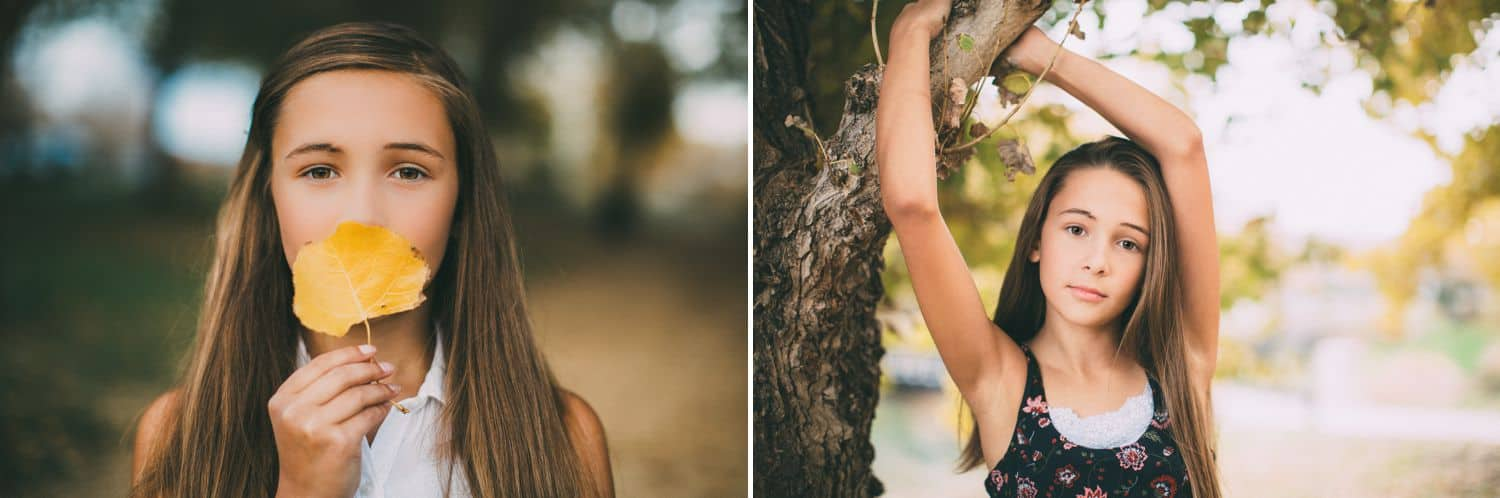 """Drop the Obsession with """"Pretty"""" Portrait Photography: Color diptych of young brunette woman outside. In one close-up image she holds a leaf in front of her face. In the other photo she extends her arms around a low tree branch. Photographed by Ty Pentecos"""