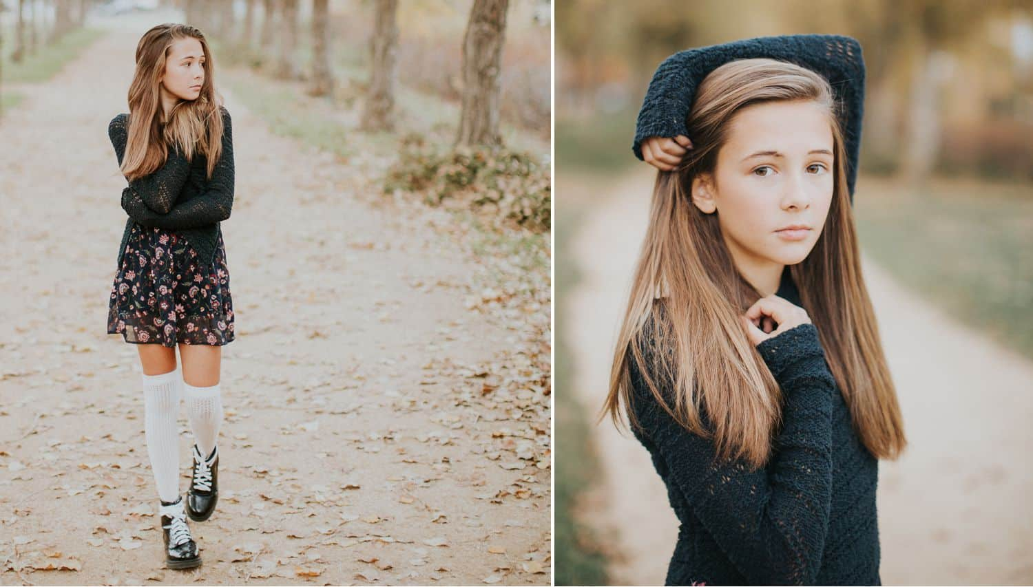 """Drop the Obsession with """"Pretty"""" Portrait Photography: Color diptych of young brunette woman walking alonng a cobblestone street in knee socks and a navy sweater. Photographed by Ty Pentecost."""