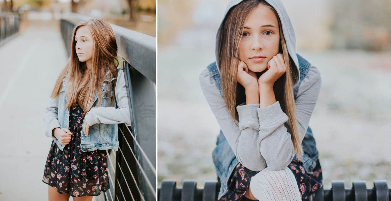 """Drop the Obsession with """"Pretty"""" Portrait Photography: Color diptych of young brunette woman on a bridge wearingn a denim-and-cloth jacket. Photographed by Ty Pentecost."""