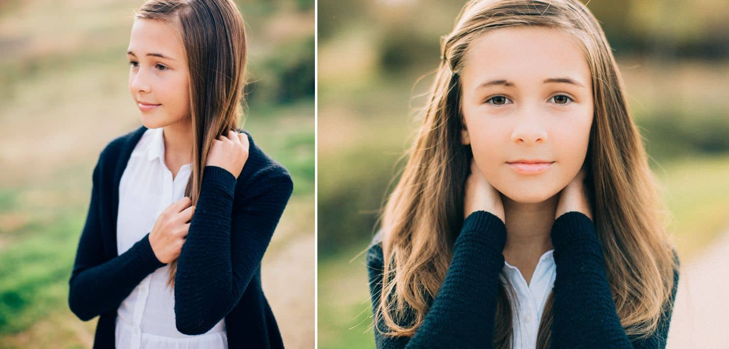 """Drop the Obsession with """"Pretty"""" Portrait Photography: Color portrait diptych of younng brunette woman wearing a white blouse and navy cardigan outside. Photographed by Ty Pentecost."""