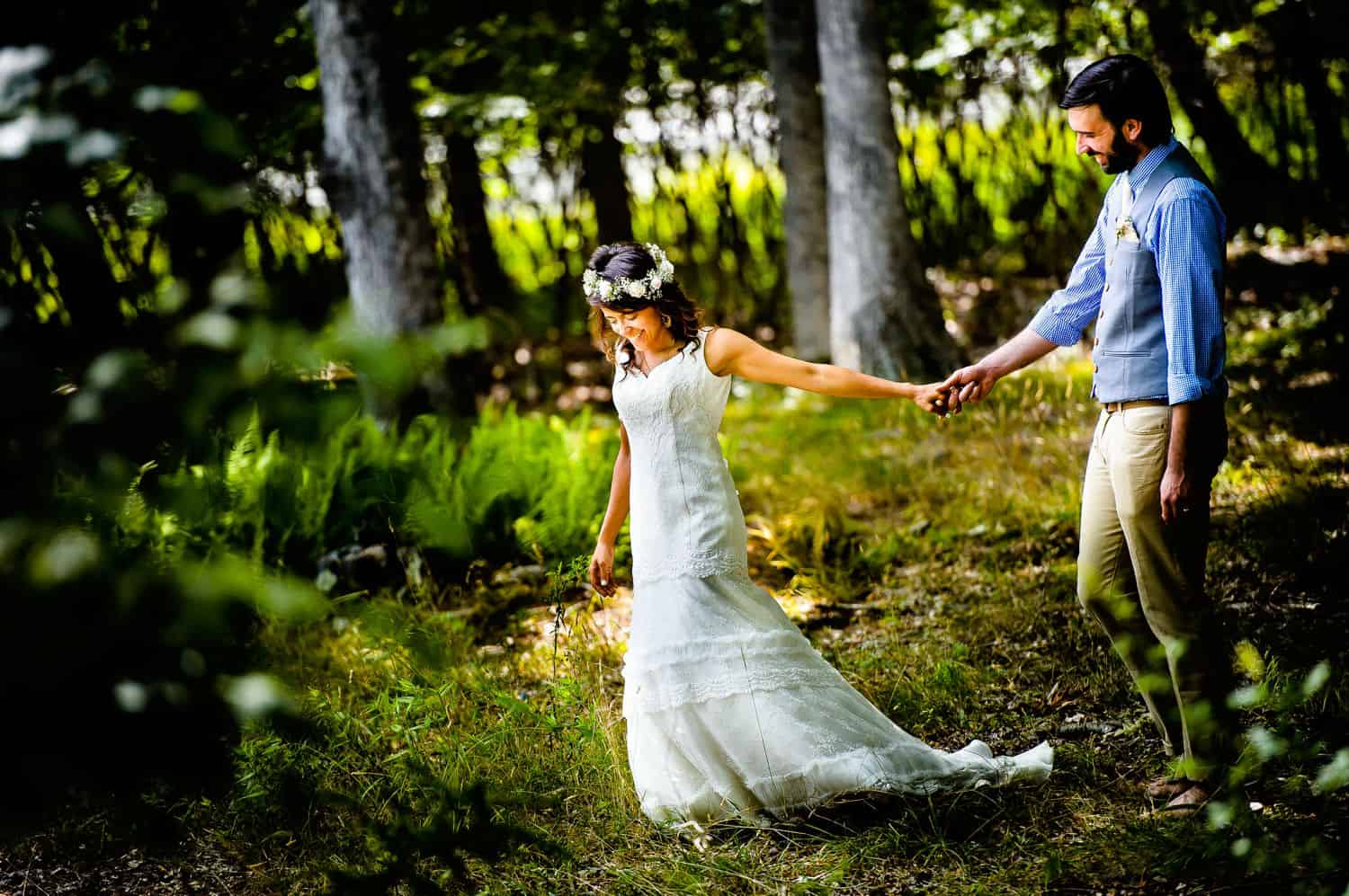 Is Táve Right for You? How To Market Smart & Track Your Cash with the Best Photography Studio Management Software: Wedding couples strolls hand-in-hand through fairy tale forest.