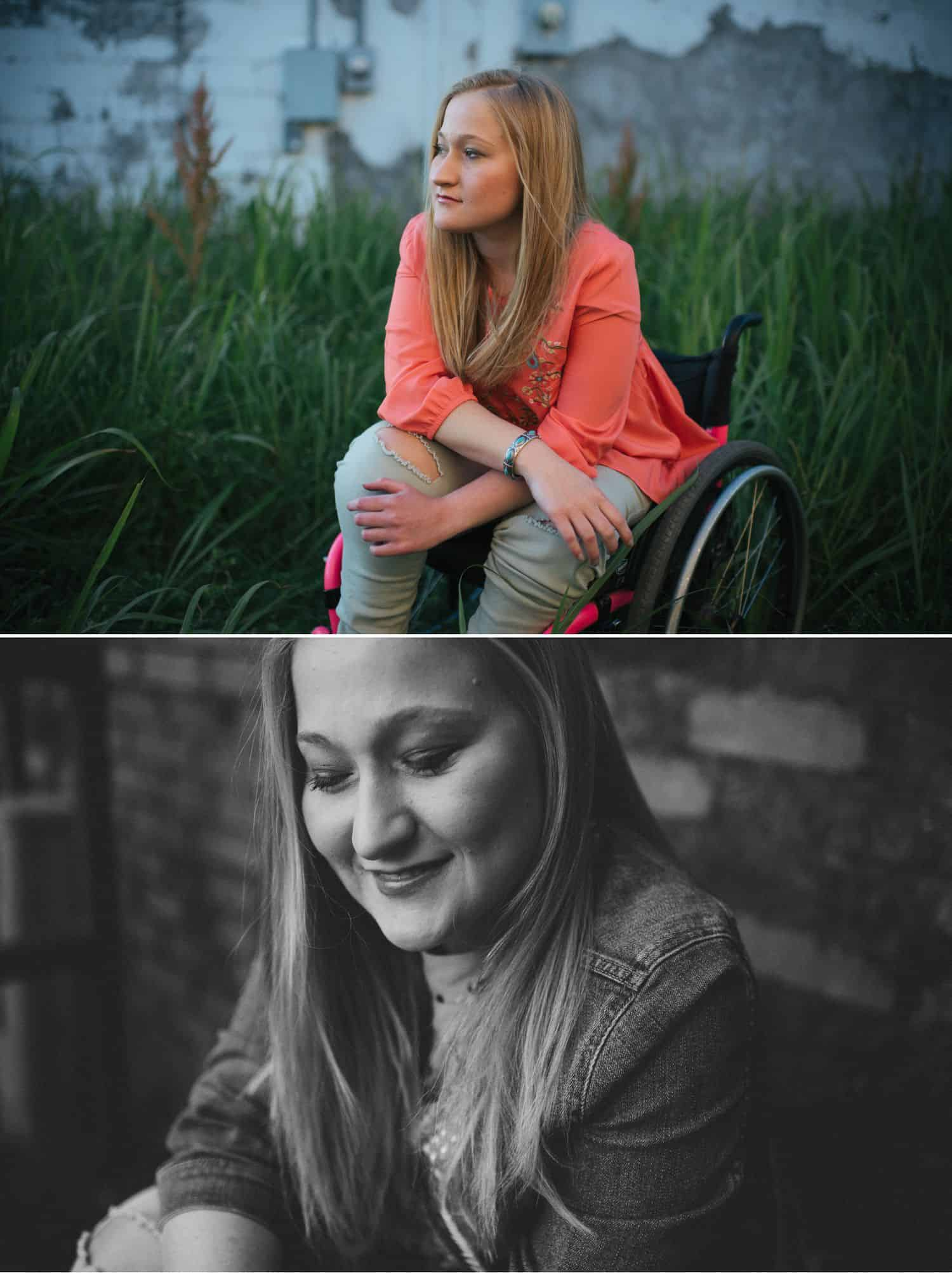 "I Quit Taking ""Safe"" Photos. It Was the Best Decision of My Life. Senior girl with wheelchair photographed in color and black-and-white."