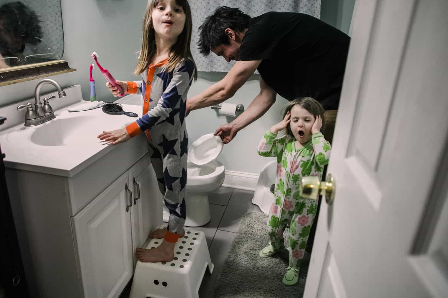 Fearless Family Photos All Have These 4 Ingredients: Lifestyle Photography - Getting Ready for Bed with Dad
