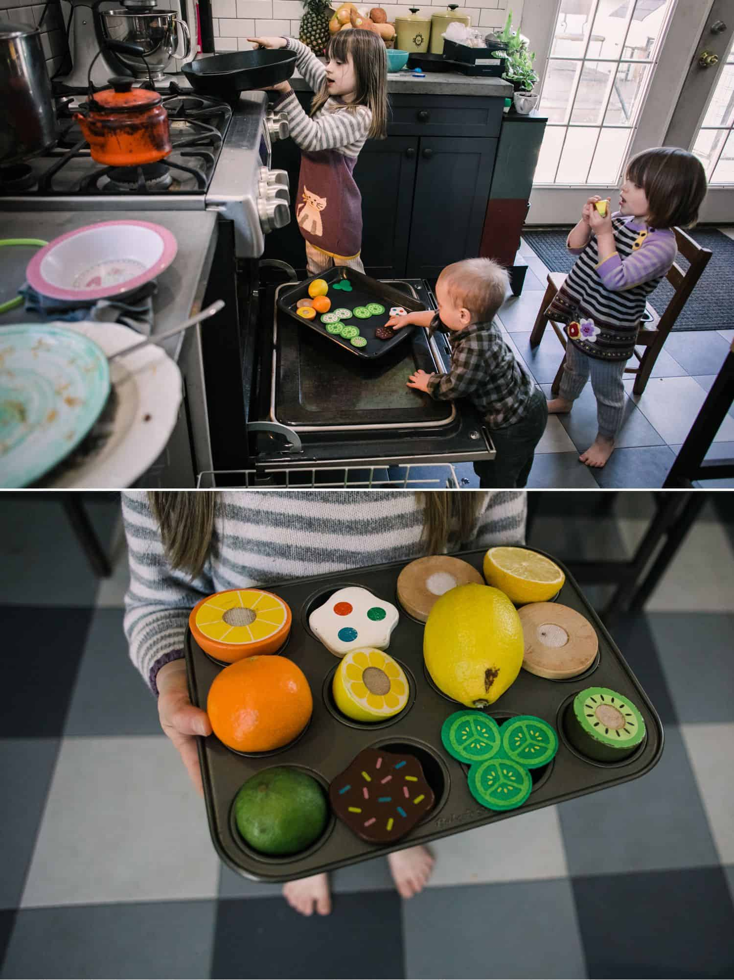 Fearless Family Photos All Have These 4 Ingredients: Lifestyle Photography - Three Sisters Prepare A Pretend Meal