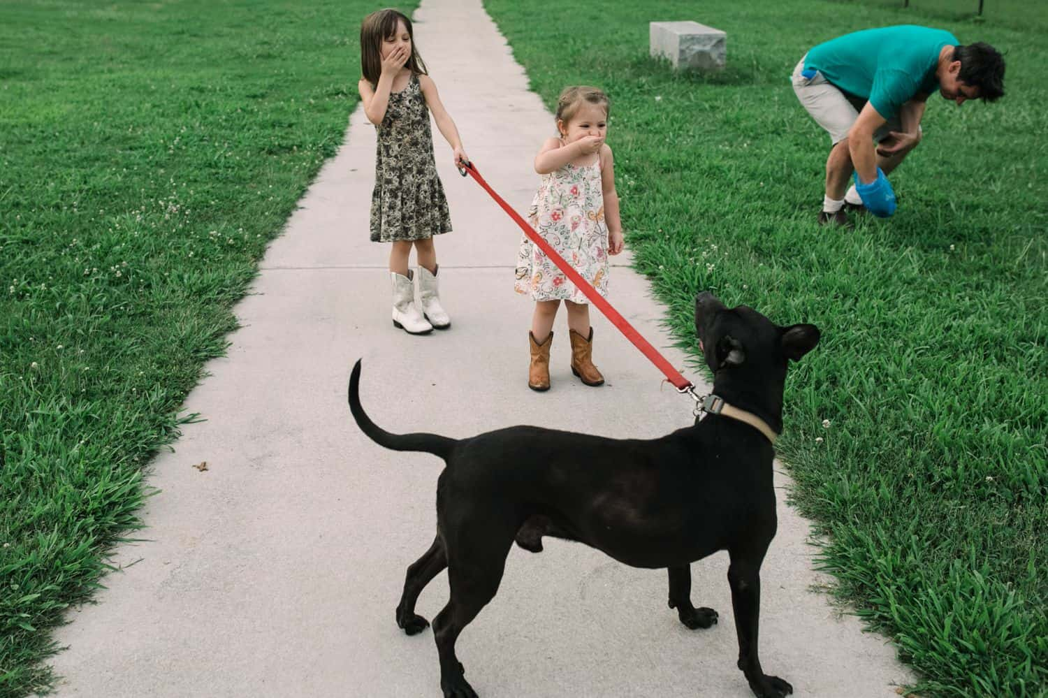 Fearless Family Photos All Have These 4 Ingredients: Lifestyle Photography - Walking the Dog Involves Picking Up Poo