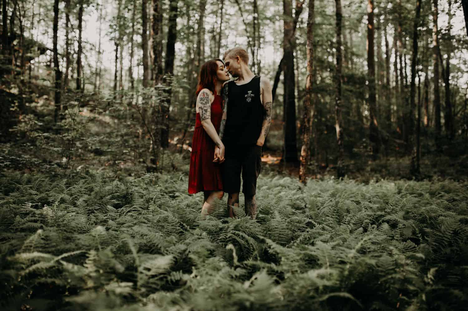 This Is the Boudoir Photography Shy Couples Need To See: Woodsy Romance