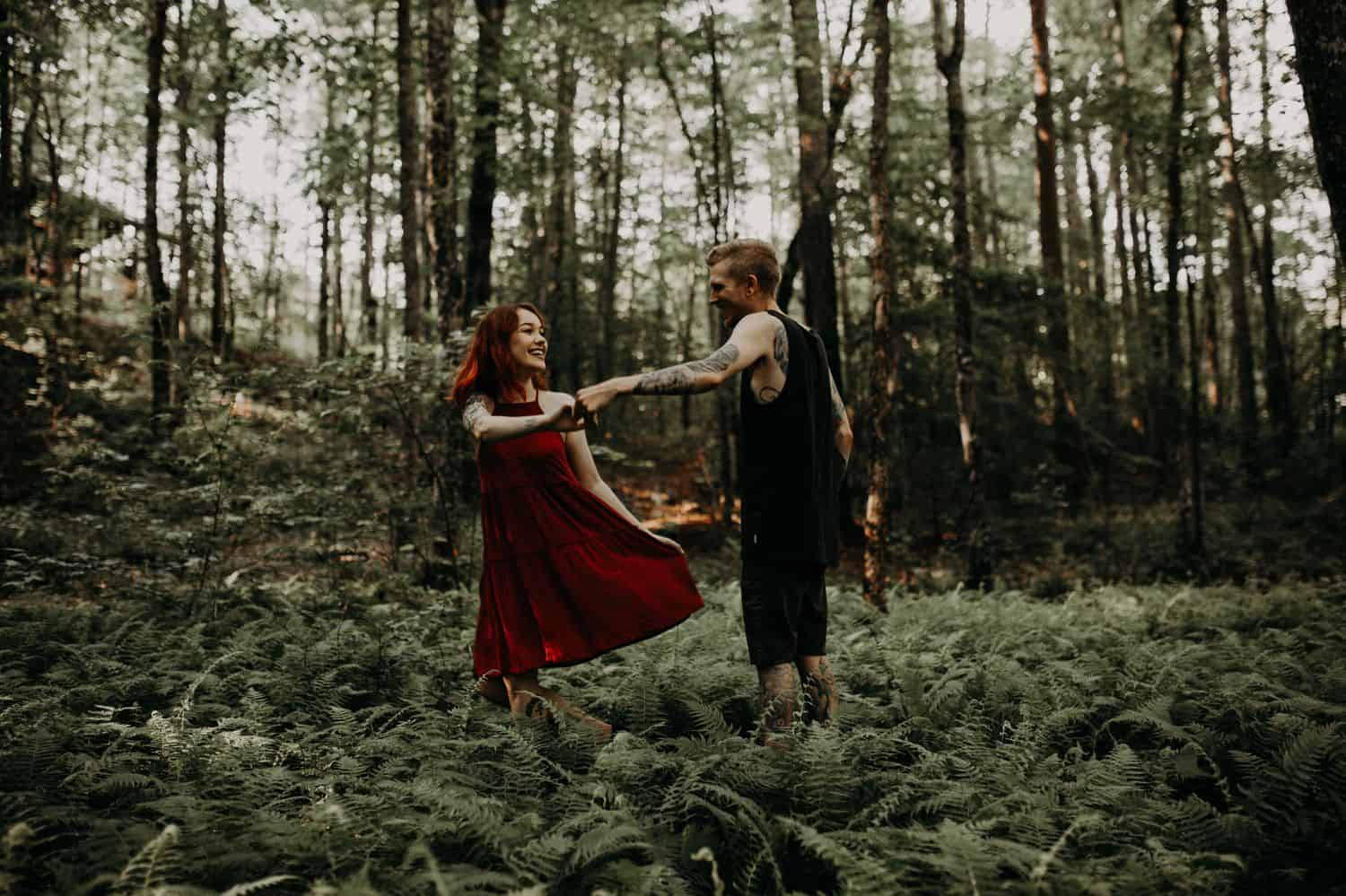 This Is the Boudoir Photography Shy Couples Need To See: Tattooed Couple Dances In the Ferns