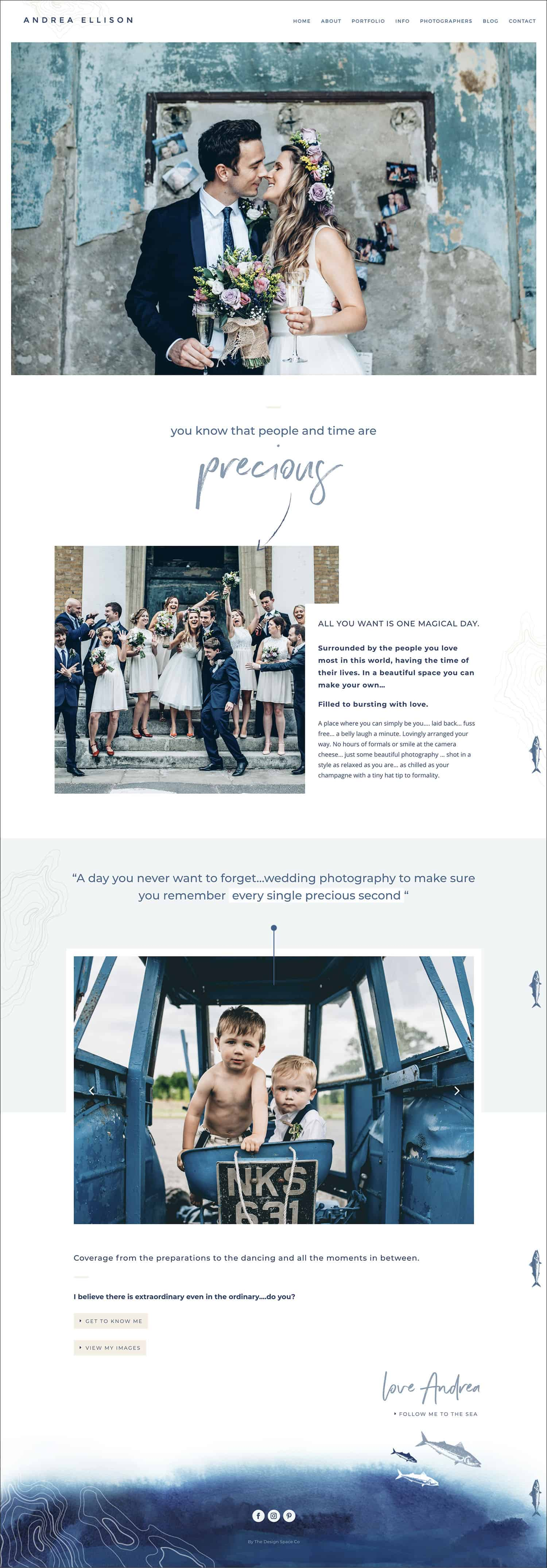 How To Make A Photography Website Your Dream Clients Can't Resist: Andrea Ellison's homepage delivers a clear call to action path that leads visitors precisely where she wants them to go.