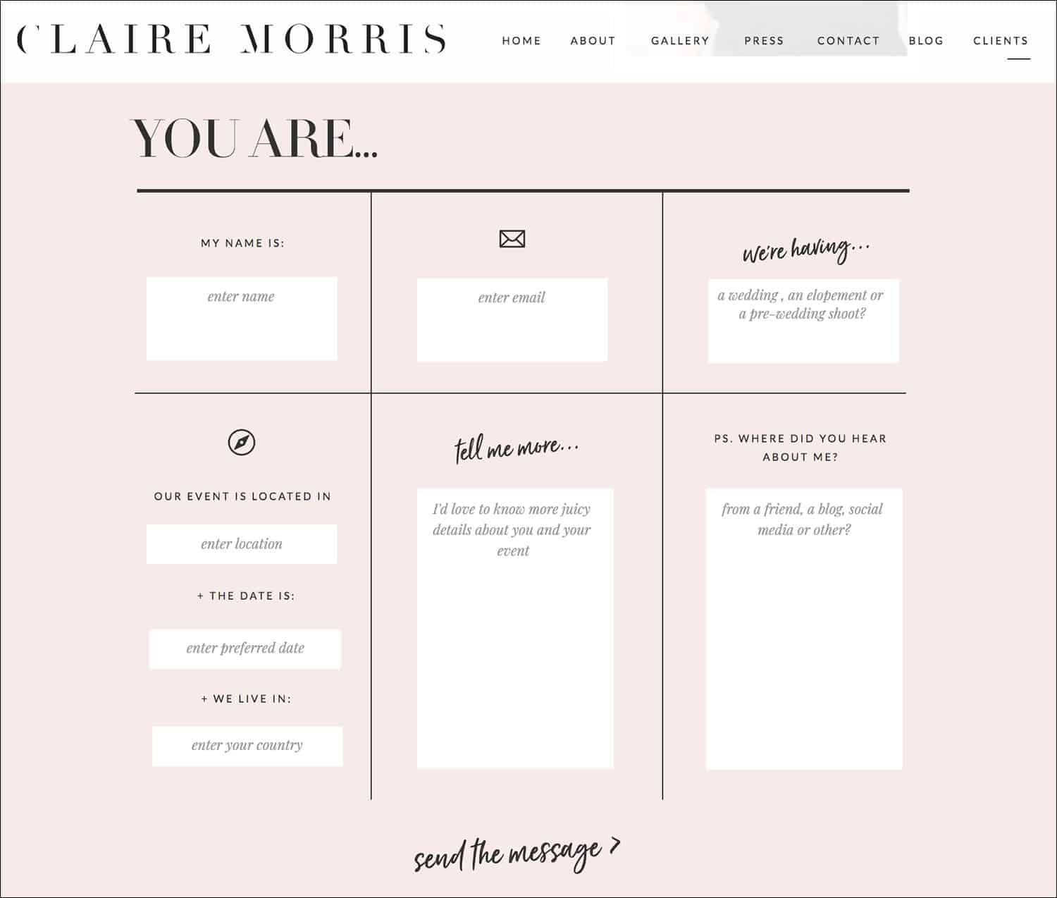 How To Make A Photography Website Your Dream Clients Can't Resist: Claire Morris' contact form is a genius example of brand intermingling with a clear call to action.