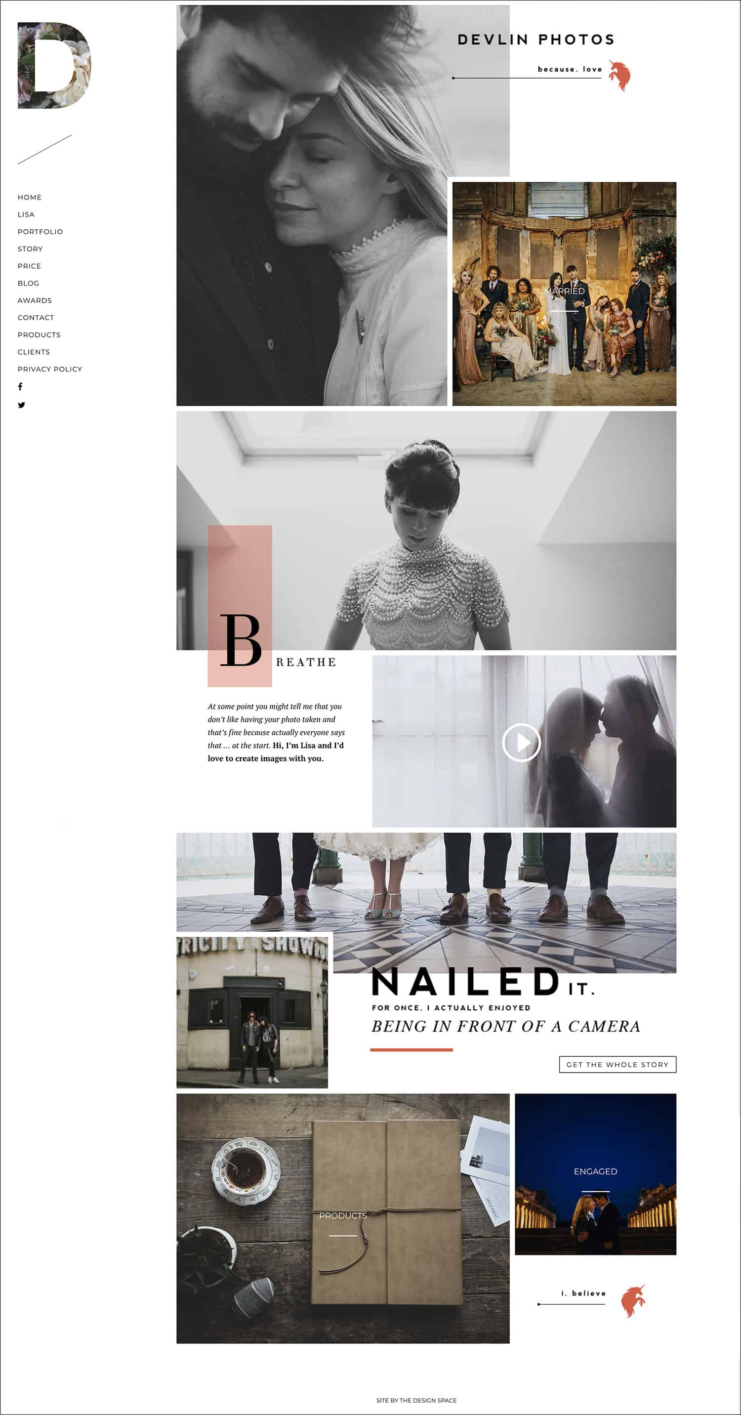 How To Make A Photography Website Your Dream Clients Can't Resist: Lisa Devlin's homepage is playful and fun without being unprofessional or cluttered.