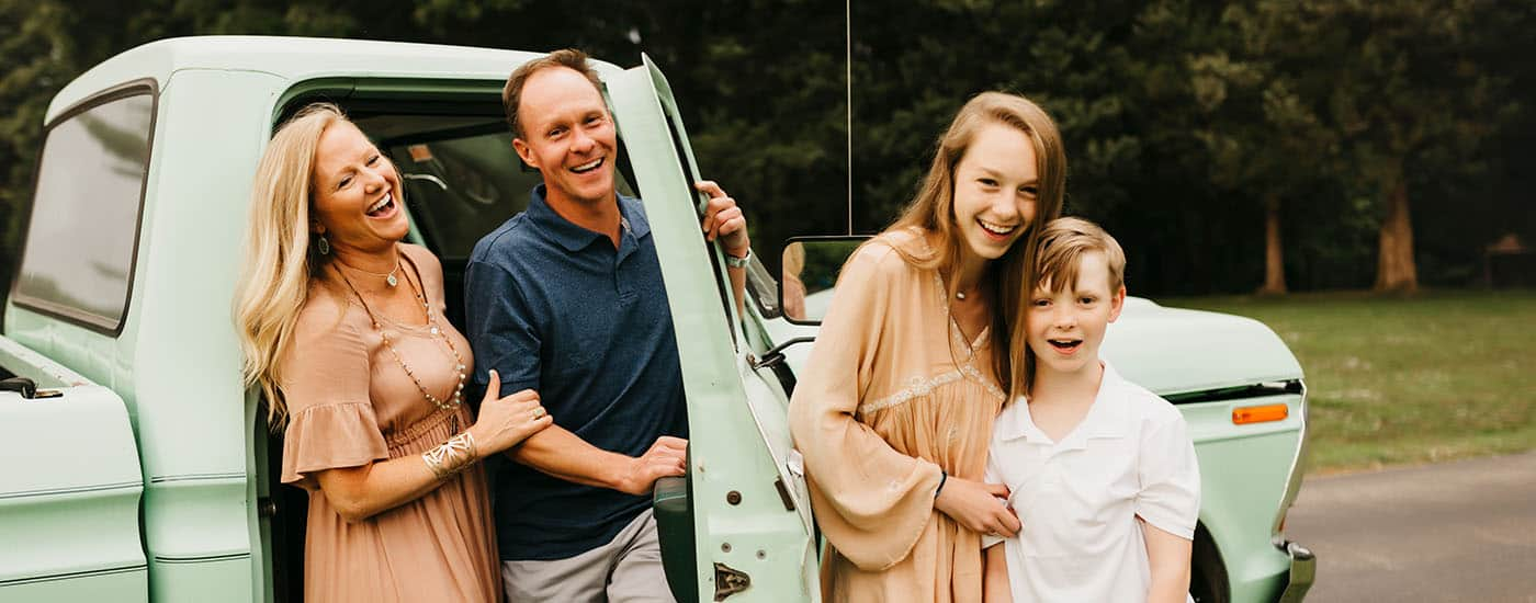 Fearless Family Photos All Have These 4 Ingredients: Standing Family Photo with Vintage Truck
