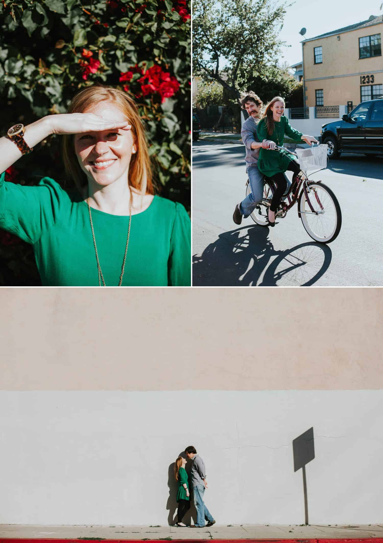 How To Make A Photography Website Your Dream Clients Can't Resist: An engaged couple explores their city by foot and by bike.