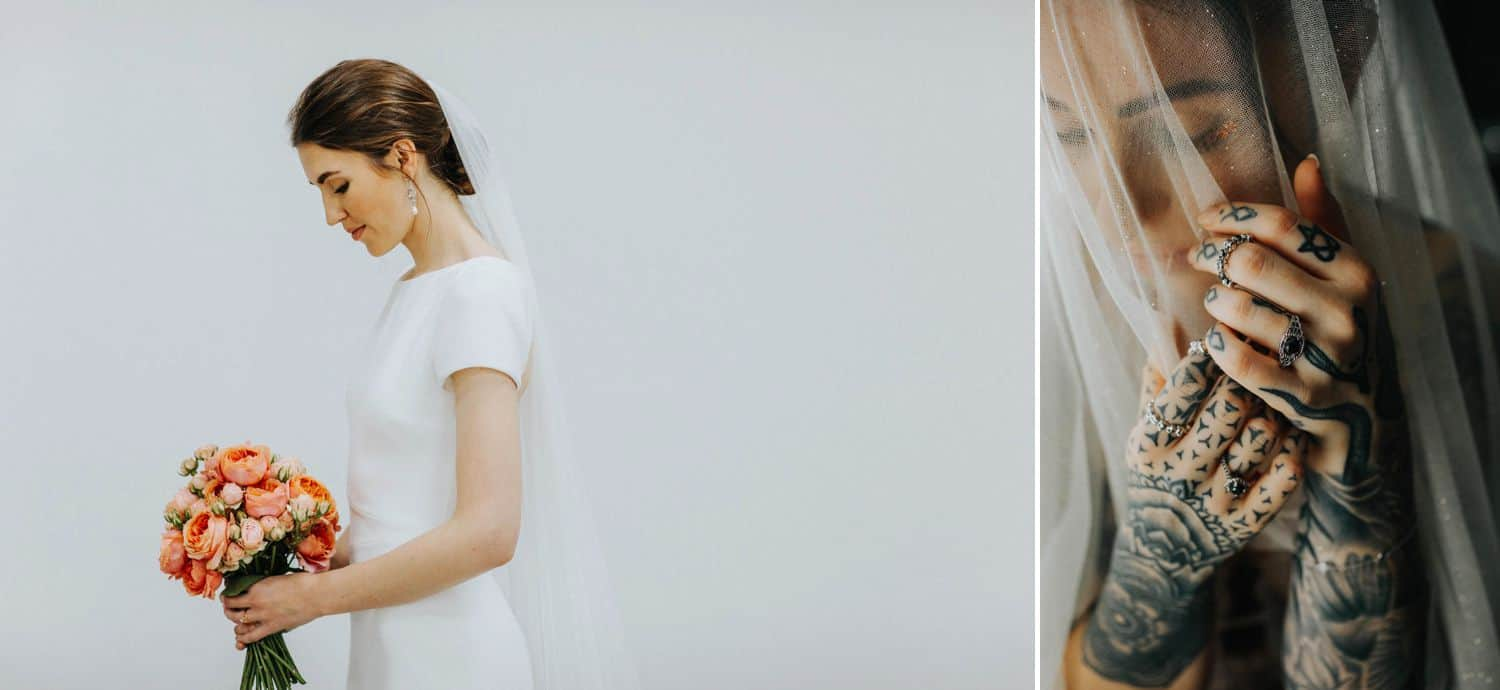 How To Make A Photography Website Your Dream Clients Can't Resist: A bride stands in profile before a simple white wall. A bride's tattooed hands are photographed against her veiled face.