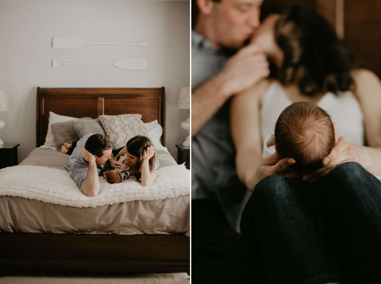 Lifestyle Newborn Photos: Left / Two parents lie on their bed, heads toward the footboard, as their baby sleeps between them. Right / A man and woman kiss lightly in the background as their newborn baby rests on the woman's knees. Only the baby's tiny head is in focus.