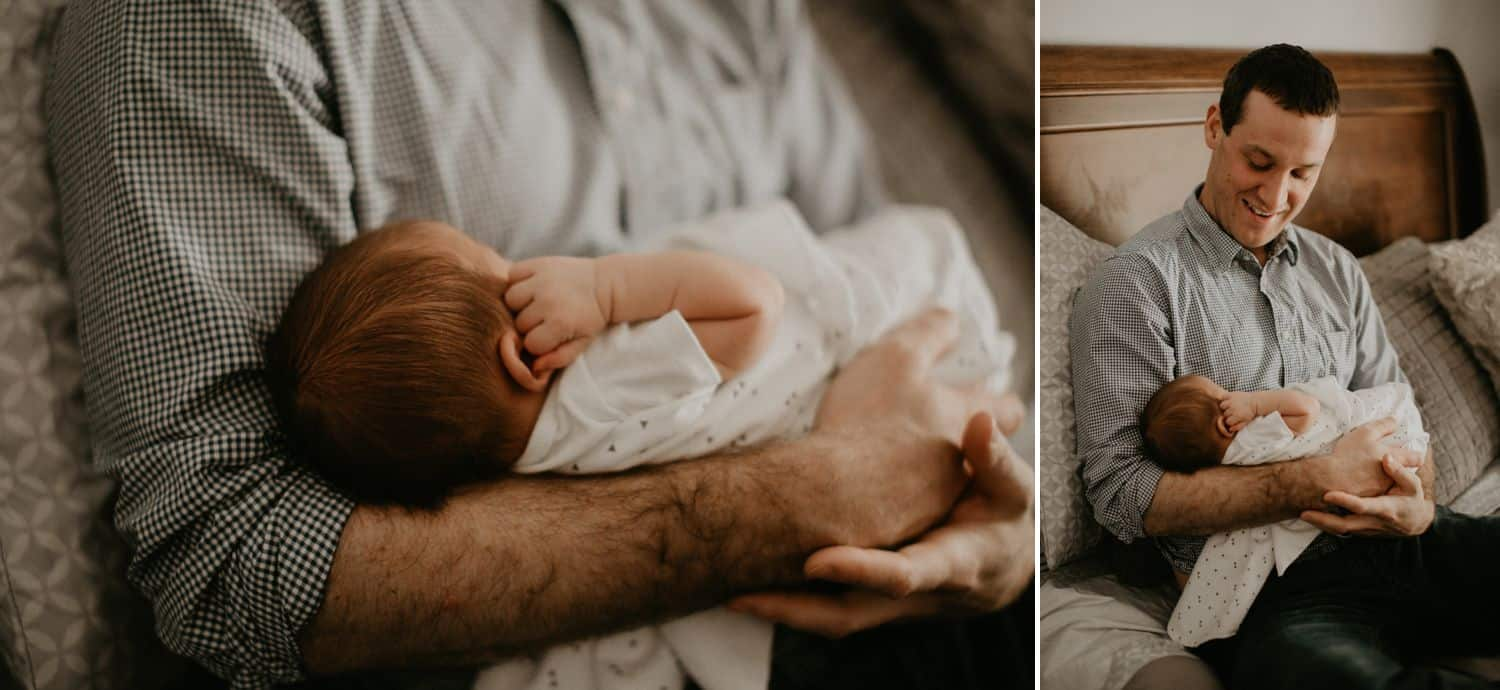 Lifestyle Newborn Photos: Left / A newborn baby sleeps soundly in their father's arms, one tiny fist tucked up beside their cheek. Right / A new dad proudly holds his newborn as he reclines on the bed at home.