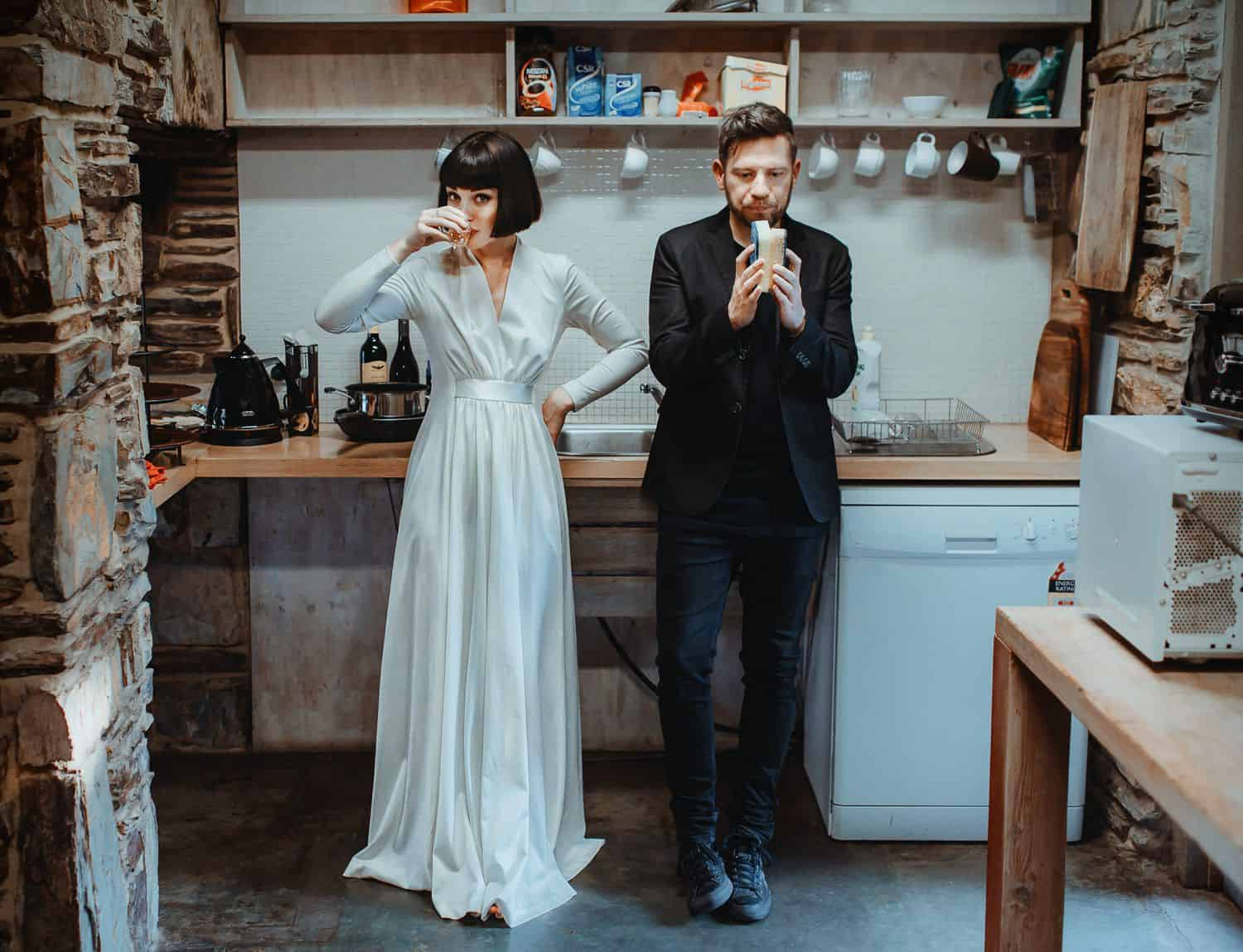 Authenticity Is Dead and Everything Is Wonderful: Bride & Groom Sipping Tea