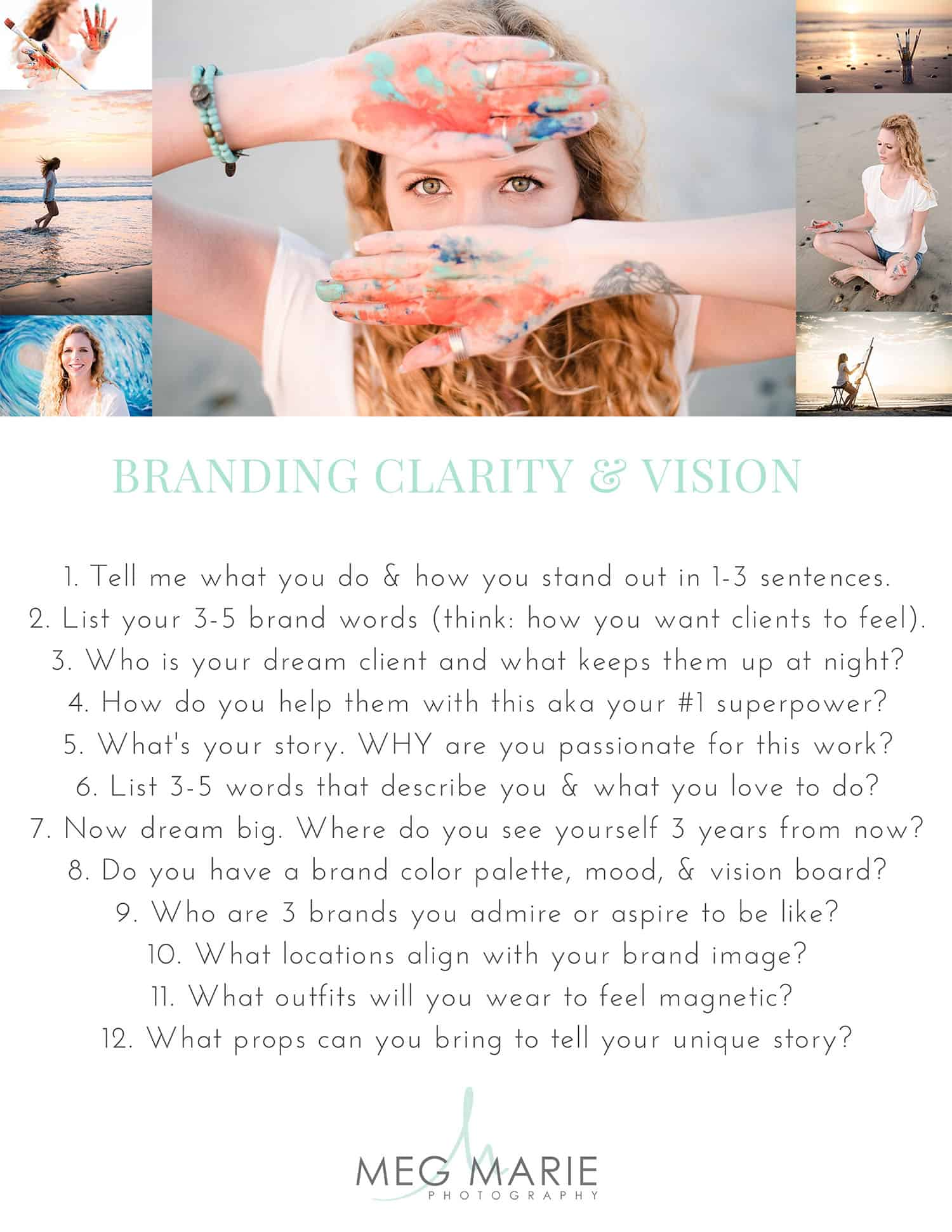 Meg Marie's brand questionnaire for headshots and brand photography clients