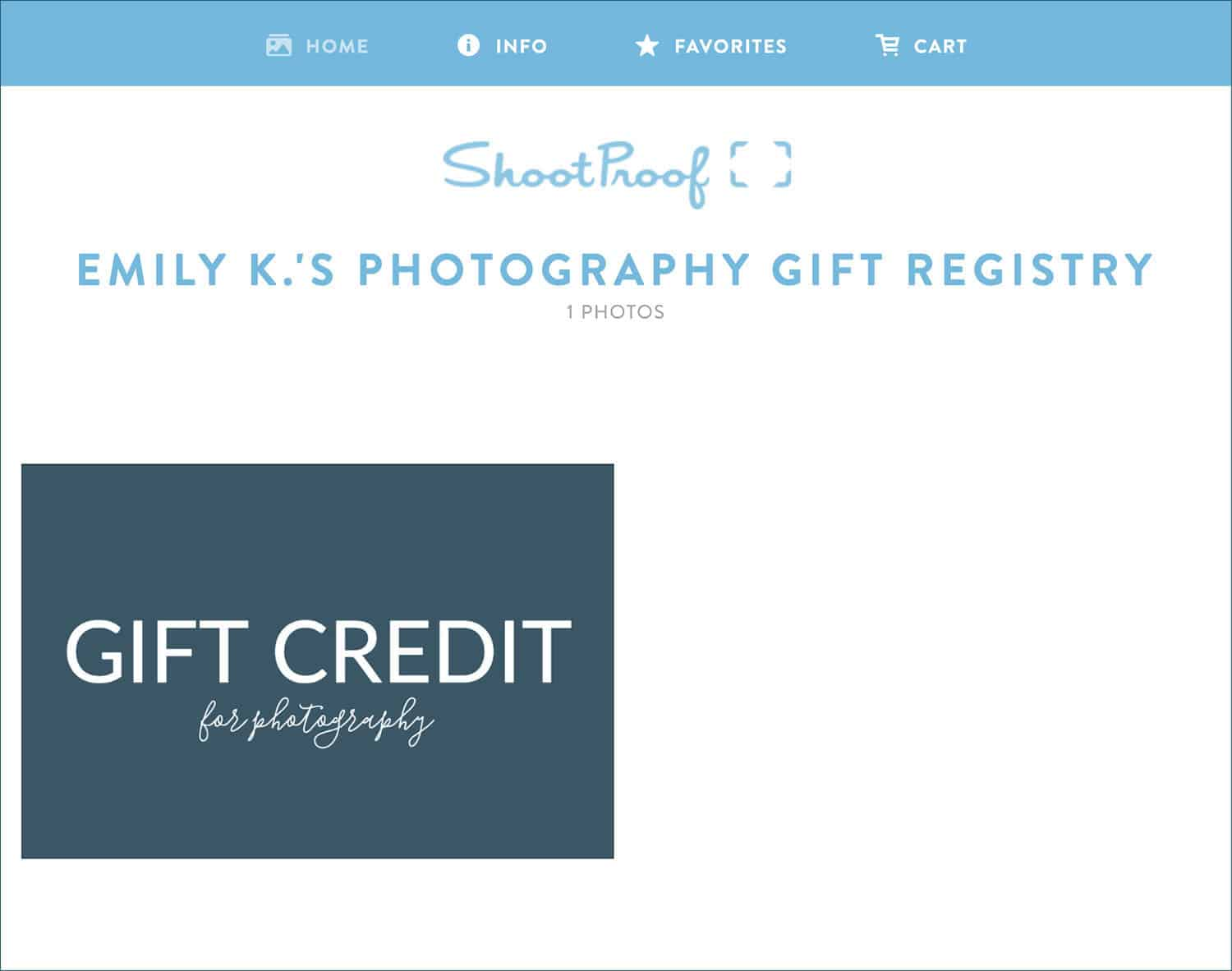 Photography Gift Registries