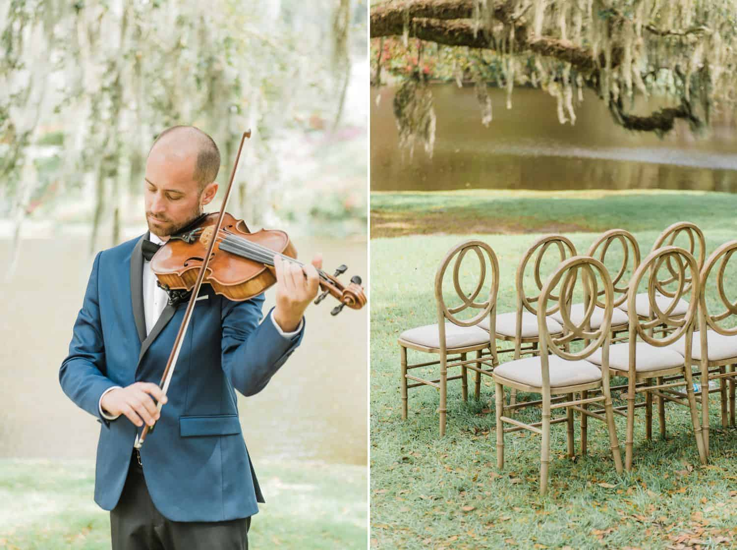 Wedding Violinist at Outdoor Southern Wedding: Get Photography Clients with Styled Shoots