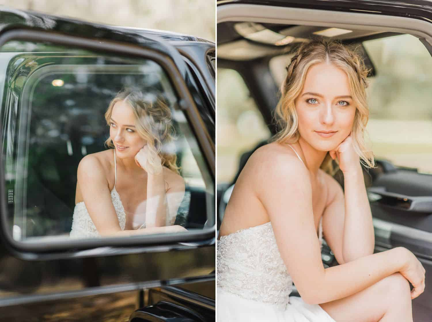 Blonde bride sitting in a Jeep: Get Photography Clients with Styled Shoots