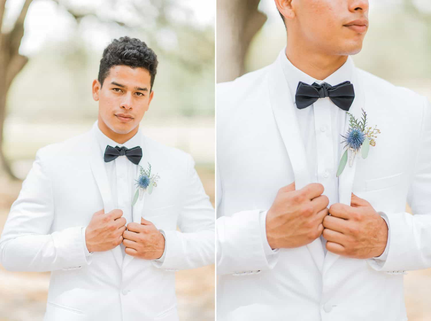 Groom Wearing White Tuxedo & Black Bow Tie: Get Photography Clients with Styled Shoots