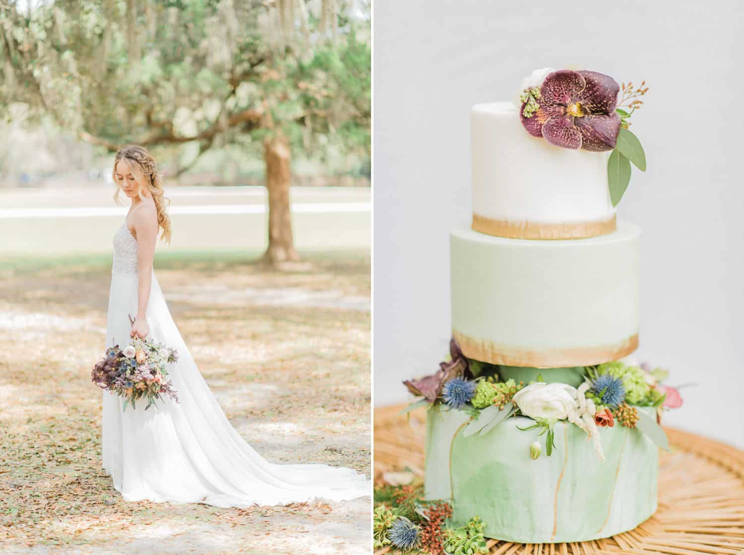 Bride and Pastel Wedding Cake with Gold, Purple, and Green: Get Photography Clients with Styled Shoots