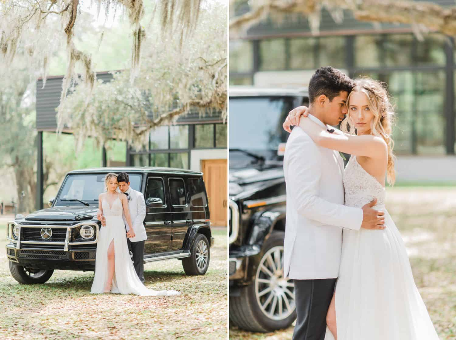 Bride and Groom Portraits Under Spanish Moss at Botanical Themed Wedding: Get Photography Clients with Styled Shoots
