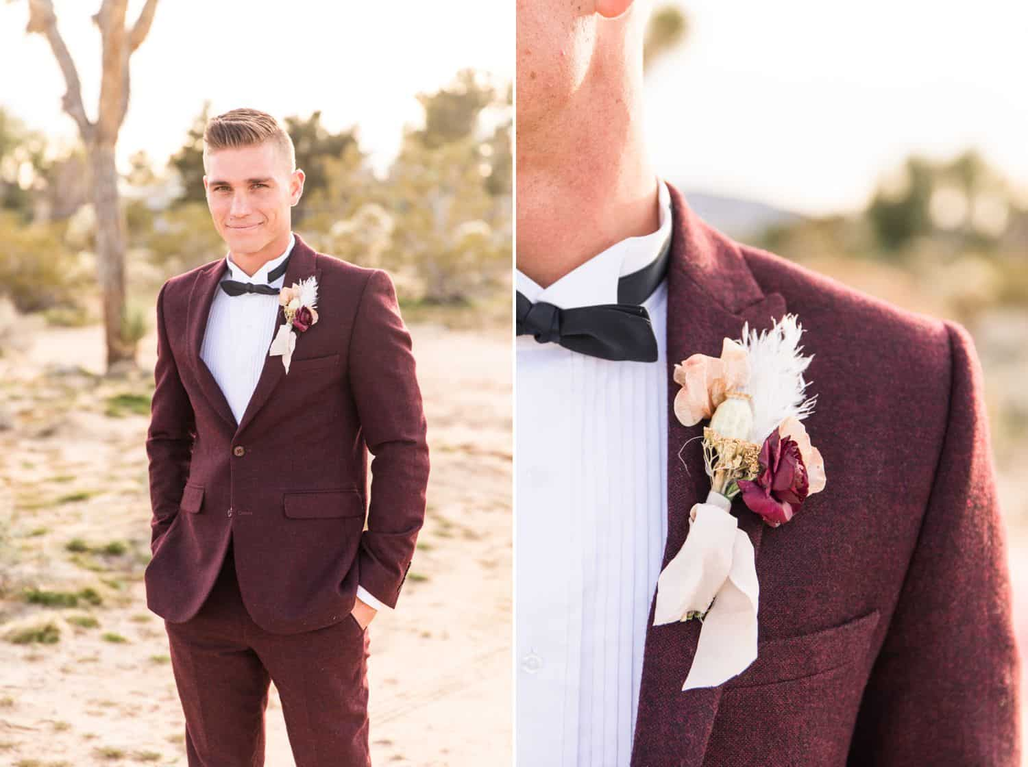 Tips for an Easy, Affordable Styled Shoot (groom in burgundy tuxedo standing in the desert)