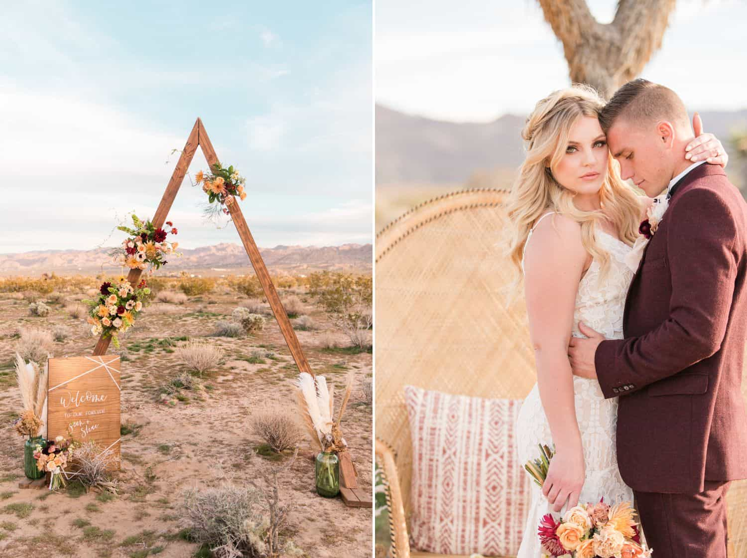 Tips for an Easy, Affordable Styled Shoot (bride and groom in the desert getting married under a modern arch)
