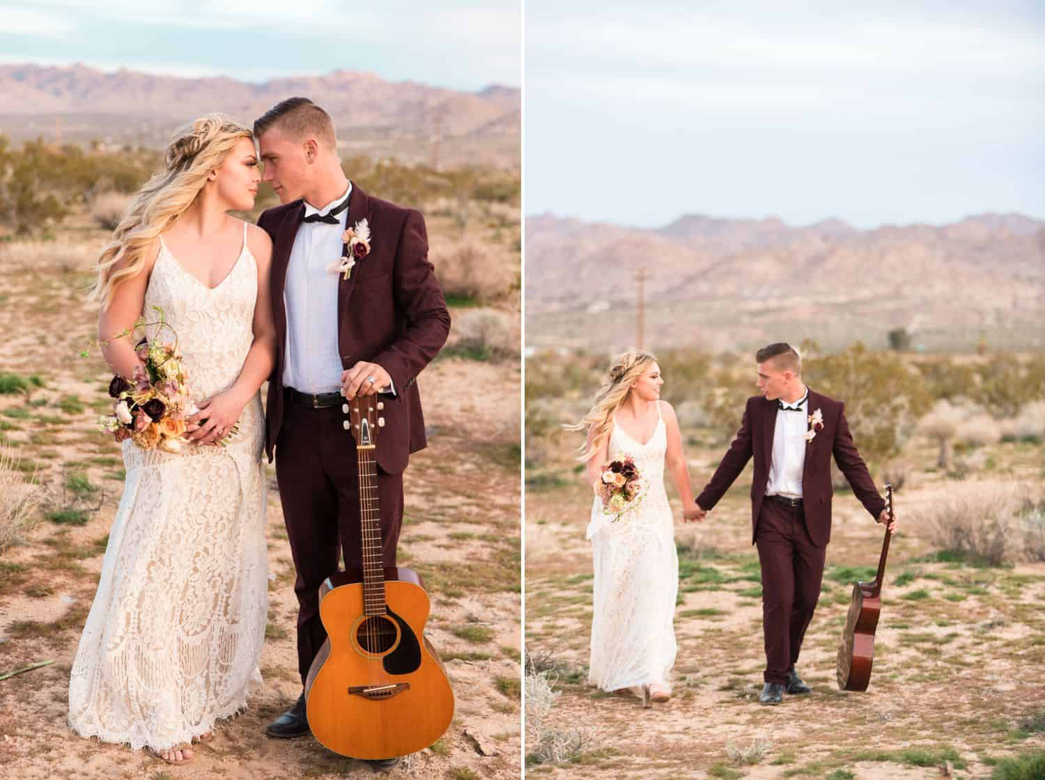 Tips for an Easy, Affordable Styled Shoot (Bride and groom in the desert with a guitar.)