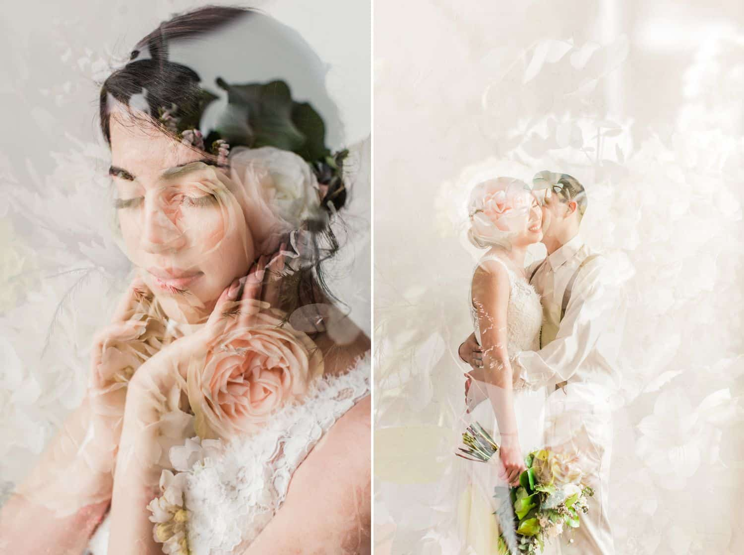 Tips for an Easy, Affordable Styled Shoot (double exposure of wedding couple over flowers)