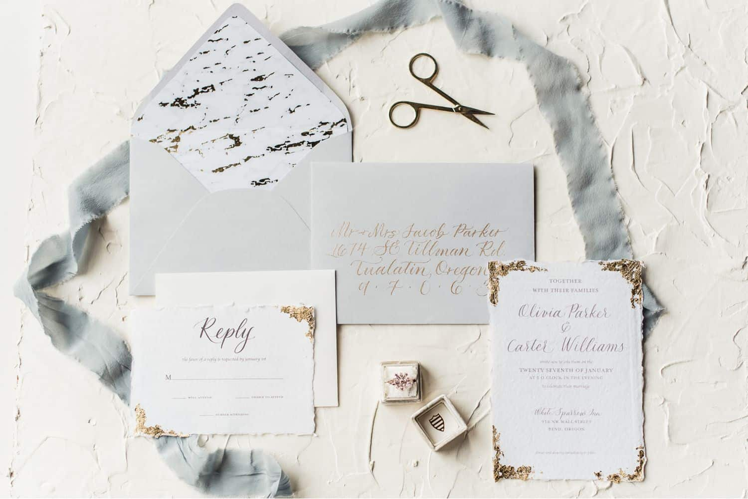 Tips for an Easy, Affordable Styled Shoot (invitation suite styled as a flatlay)
