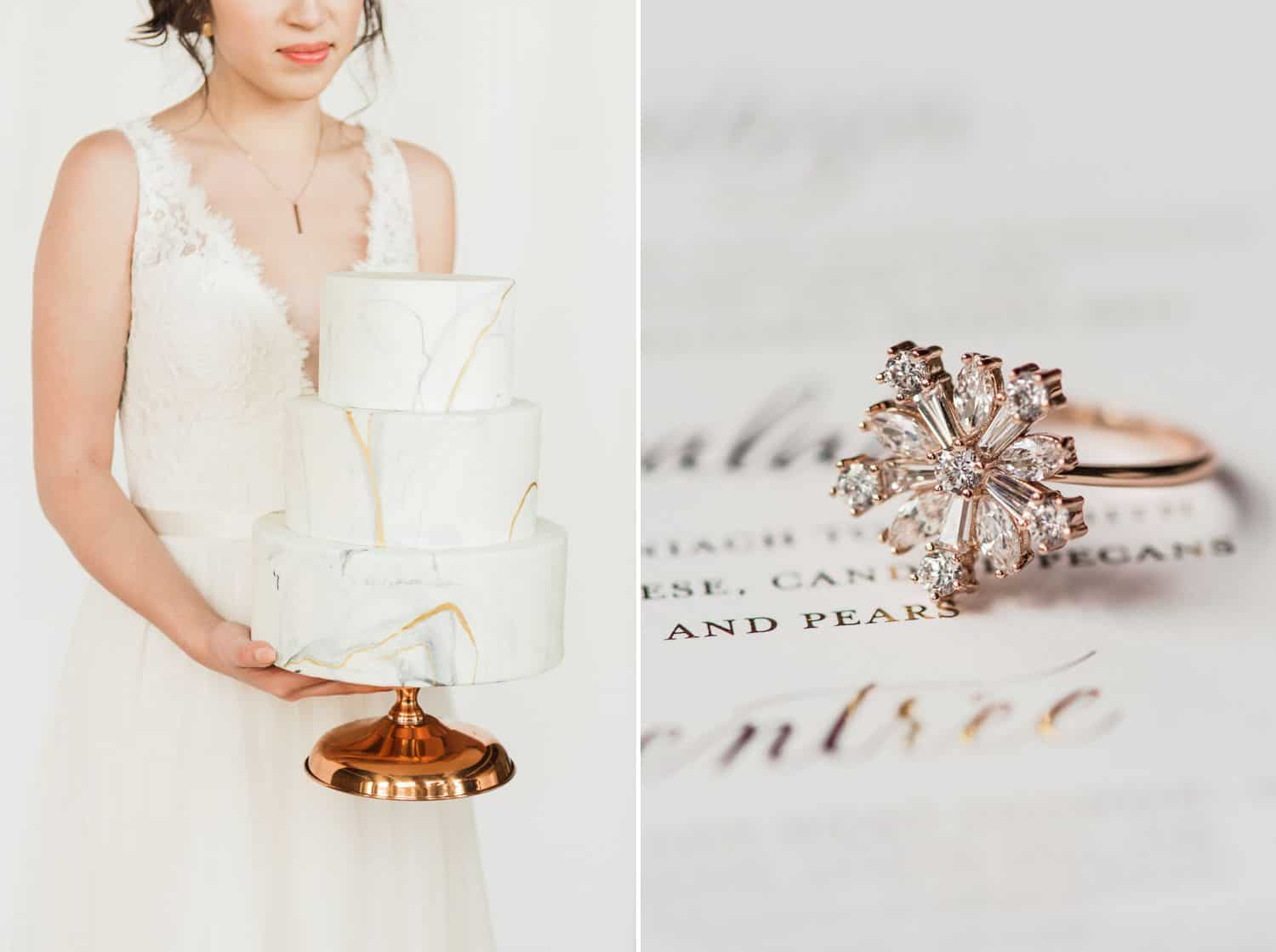 Tips for an Easy, Affordable Styled Shoot (bride holding a wedding cake; snowflake diamond ring)