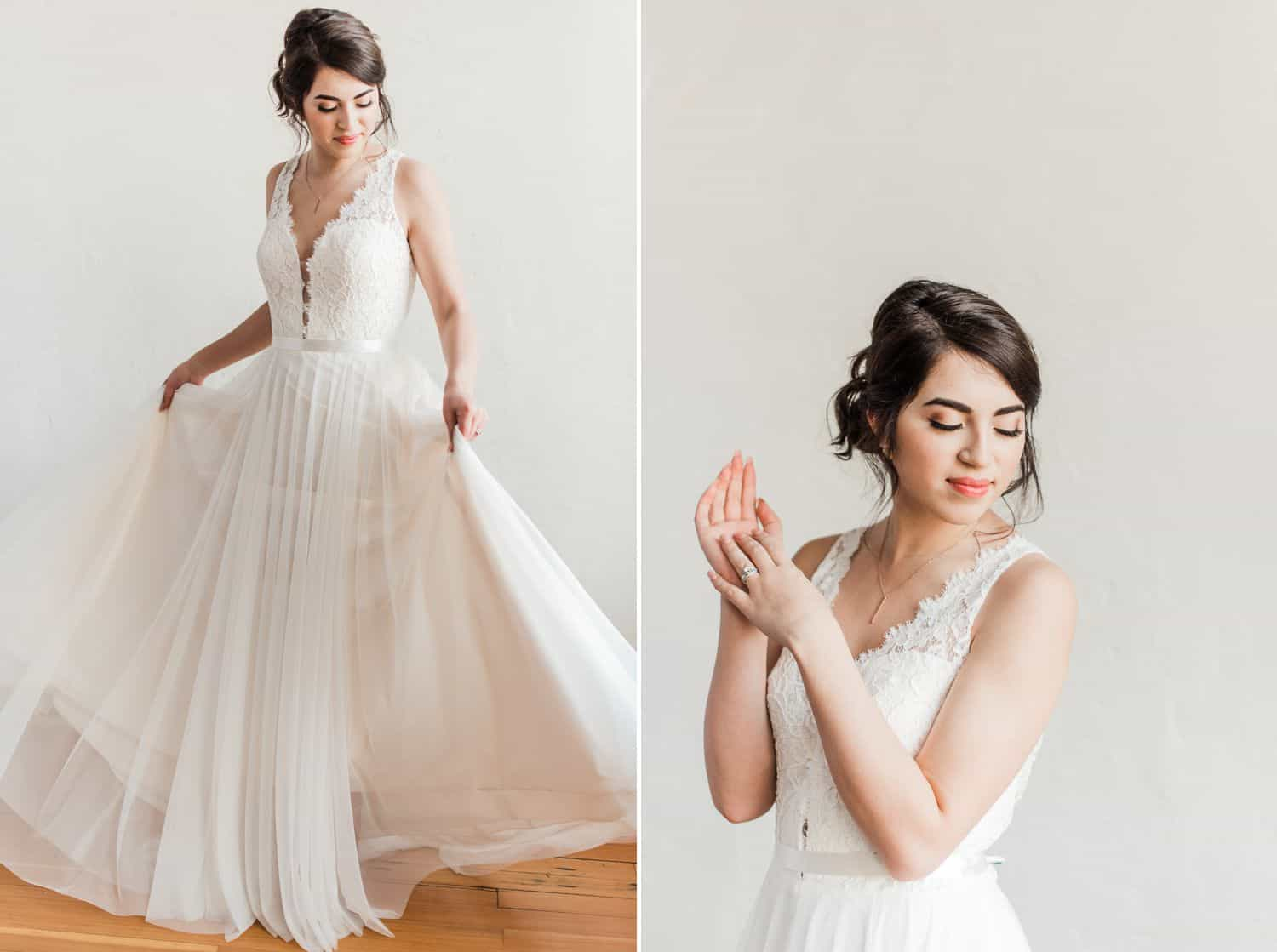 Tips for an Easy, Affordable Styled Shoot (bride in flowing dress against white background)