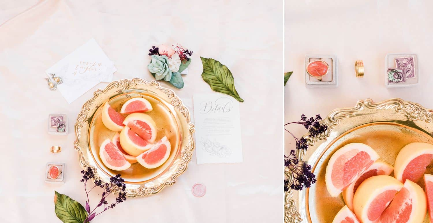 Tips for an Easy, Affordable Styled Shoot (sliced grapefruit surrounded by wedding details)