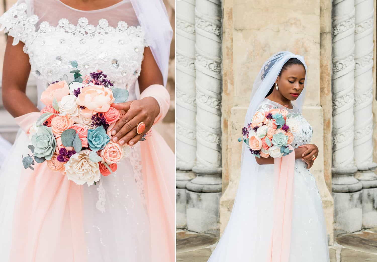 Tips for an Easy, Affordable Styled Shoot (bride holding colorful bouquet against rustic backdrop)